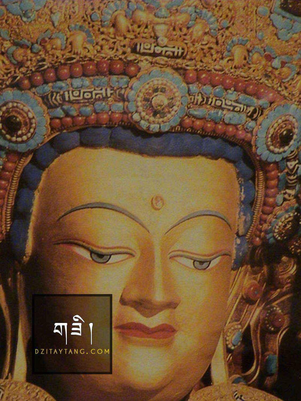 Tượng Phật Thích Ca Mâu Ni trong Tu viện Jokhang được trang trí các hạt Đá Dzi, San hô và Ngọc Lam