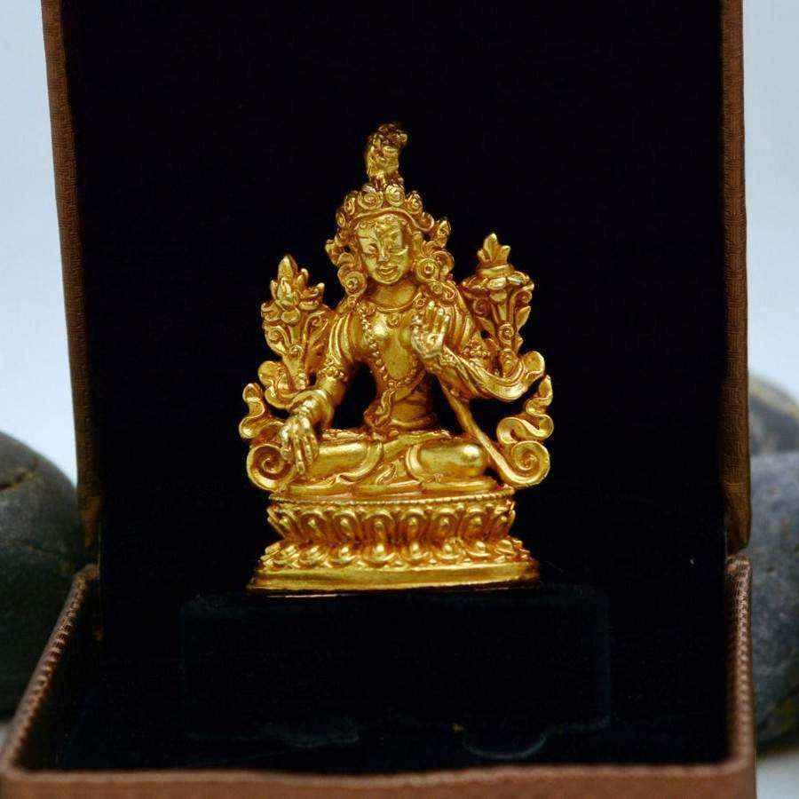 Tượng Vàng Trường Thọ Bạch Độ Mẫu White Tara Nepal (nhỏ)
