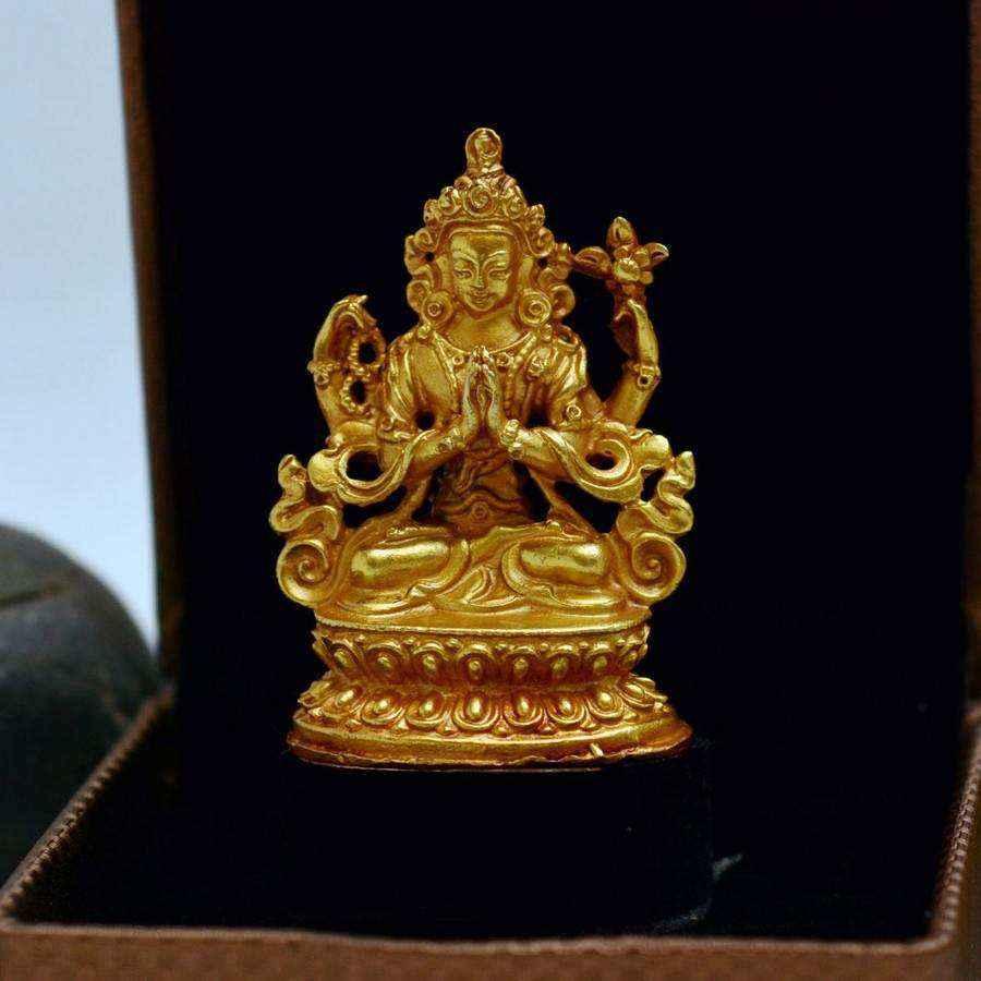 Tượng Phật Vàng Nepal Đức Quan Âm Tứ Thủ Avalokiteshvara (nhỏ)