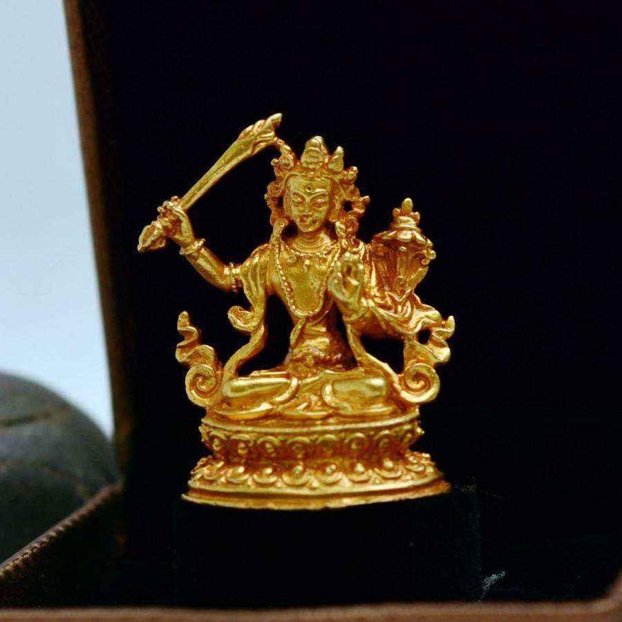 Tượng Phật Vàng Nepal Bồ Tát Văn Thù Sư Lợi Manjushri (nhỏ)