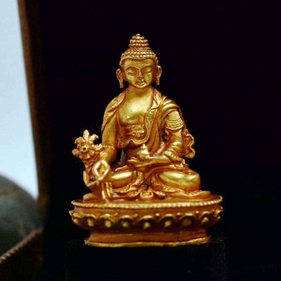 Tượng Phật Vàng Dược Sư Medicine Buddha Nepal (nhỏ)